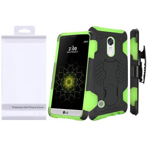 Insten Hard Dual Layer TPU Cover Case w/Holster For LG Grace 4G/Harmony/K20 Plus/K20 V, Green/Black
