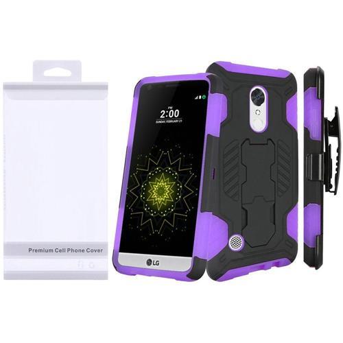Insten Hard Dual Layer TPU Case w/Holster For LG Grace 4G/Harmony/K20 Plus/K20 V, Purple/Black