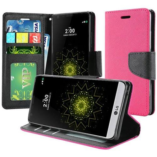 Insten Folio Fabric Case w/stand/Photo Display For LG Grace 4G/Harmony/K20 Plus/K20 V, Hot Pink