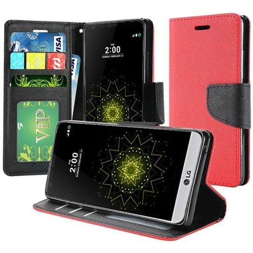 Insten Flip Leather Fabric Case w/stand/Photo Display For LG Grace 4G/Harmony/K20 Plus/K20 V, Red