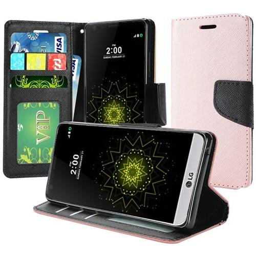 Insten Flip Leather Fabric Case w/stand/card slot/Photo Display For LG K20 Plus/K20 V, Rose Gold