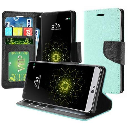 Insten Book-Style Leather Fabric Case w/stand/card holder/Photo Display For LG K20 Plus/K20 V, Teal