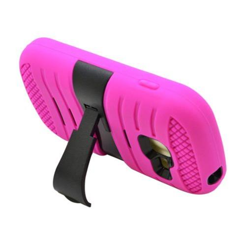 Insten Wave Symbiosis Rubber Hard Case w/stand For Samsung Galaxy Centura/Discover, Hot Pink/Black