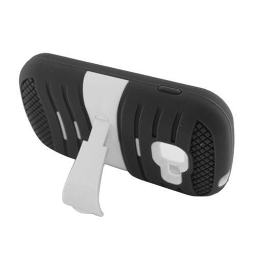 Insten Wave Symbiosis Silicone Rubber Hard Case w/stand For Samsung Galaxy Centura/Dis- Black/White