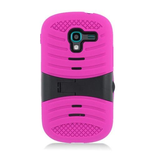 Insten Wave Symbiosis Soft Rubber Hard Case w/stand For Samsung Galaxy Exhibit T599, Hot Pink/Black