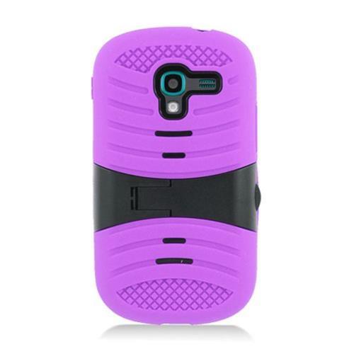Insten Wave Symbiosis Skin Rubber Hard Case w/stand For Samsung Galaxy Exhibit T599, Purple/Black