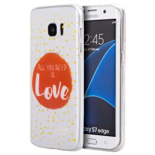Insten Just Need Love Rubber Cover Case For Samsung Galaxy S7 Edge, Clear/Red