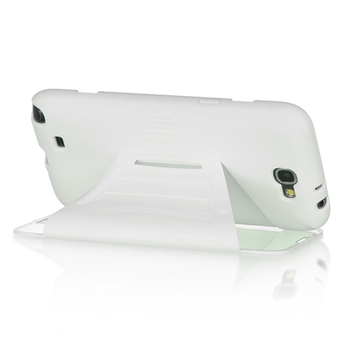 Insten Hard Rubberized Cover Case w/Installed For Samsung Galaxy Note II, White