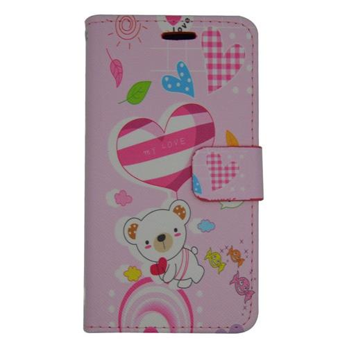 Insten Cute Bear Flip Leather Fabric Case w/stand/card holder For Samsung Galaxy J1 (2016), Pink