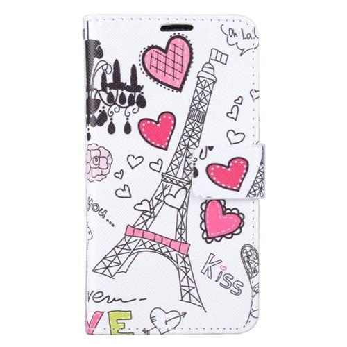 Insten Eiffel Tower Folio Leather Case w/stand/card holder For Samsung Galaxy J7 (2016), White/Pink
