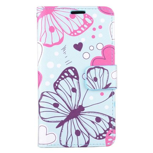 Insten Butterfly/Heart Folio Leather Case w/stand/card slot For Samsung Galaxy J7 (2016), Blue/Pink