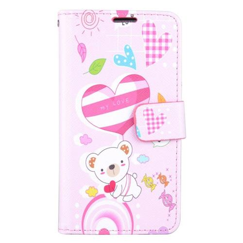 Insten Cute Bear Flip Leather Fabric Case w/stand/card slot For Samsung Galaxy J7 (2016), Pink