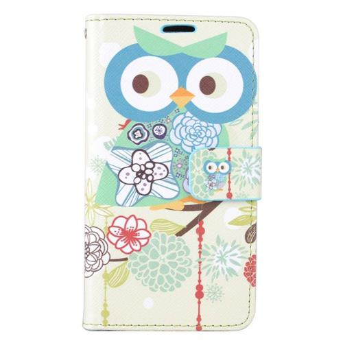 Insten Owl Flip Leather Fabric Case w/stand/card holder For Samsung Galaxy J7 (2016), Blue/Green