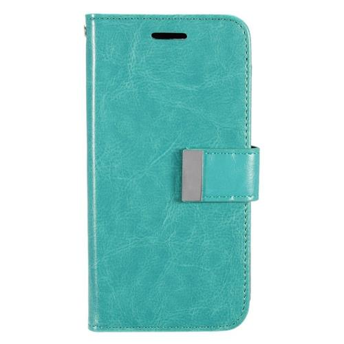 Insten Book-Style Leather Fabric Case w/card slot For Samsung Galaxy S7, Mint Green