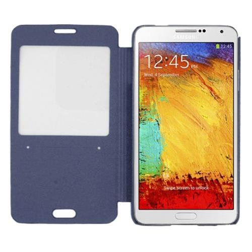 Insten Book-Style Leather Fabric Cover Case For Samsung Galaxy Note 3, Blue