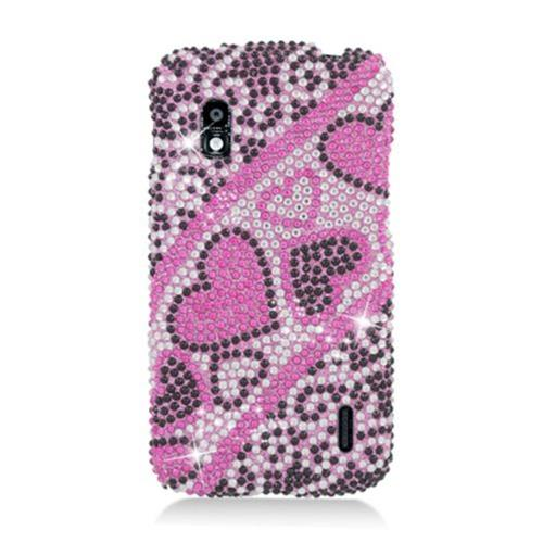 Insten Hearts Hard Diamond Cover Case For LG Google Nexus 4 E960, Hot Pink