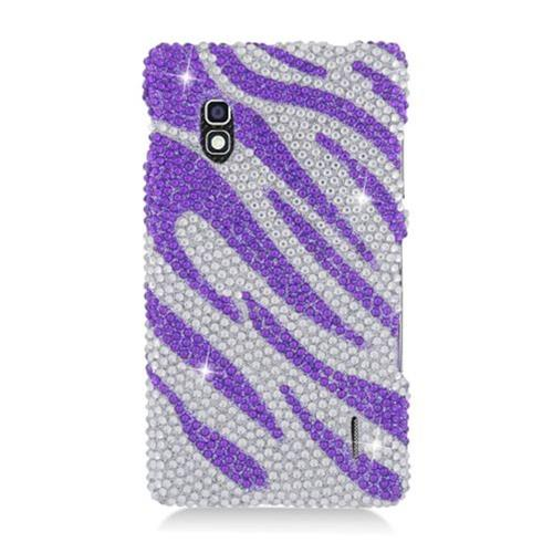 Insten Zebra Hard Rhinestone Case For LG Optimus G E970, Purple/Silver