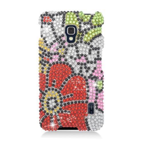 Insten Flowers Hard Bling Case For LG Optimus F6 MS500, Red/Green