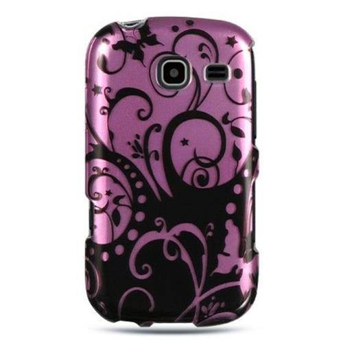 Insten Swirl Hard Rubberized Case For Samsung Freeform III R380, Black/Hot Pink