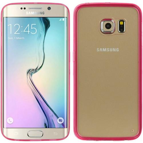 Insten Rubber Case For Samsung Galaxy S6 Edge, Hot Pink/Clear