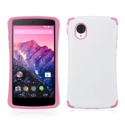 Insten TPU Cover Case For LG Google Nexus 5 D820, White/Hot Pink