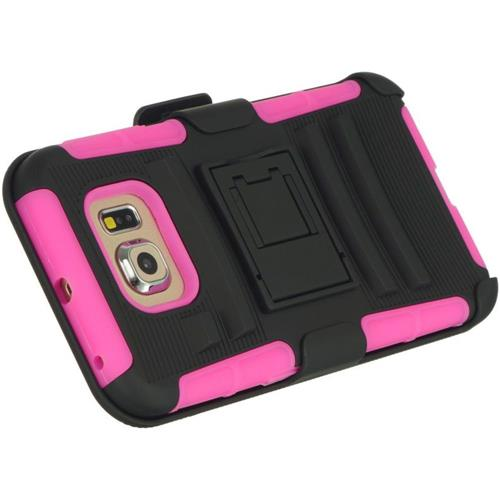 Insten Hard Dual Layer TPU Case w/stand/Holster For Samsung Galaxy S6, Black/Hot Pink