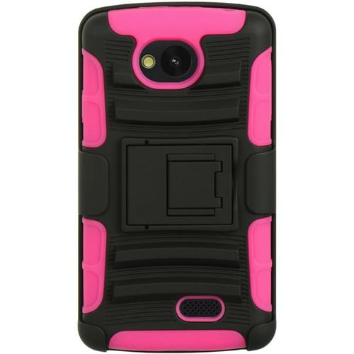 Insten Hard Hybrid Plastic TPU Cover Case w/stand/Holster For LG Tribute, Black/Hot Pink