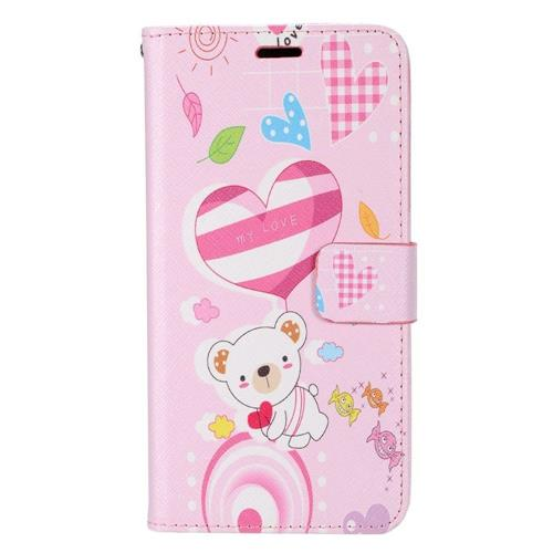 Insten Bear Flip Leather Case w/stand/card holder/Photo Display For Samsung Galaxy S8, Pink/White
