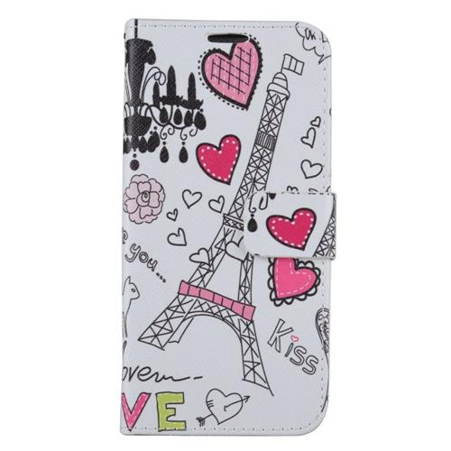 Insten Heart Tower Flip Leather Case w/stand/card holder For Samsung Galaxy S8+, White/Pink
