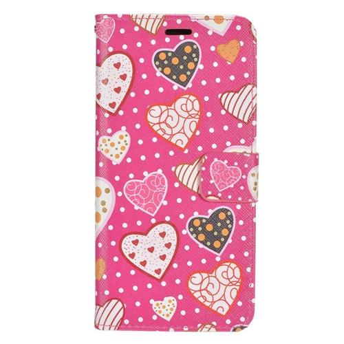 Insten Hearts Leather Case w/stand/card holder/Photo Display For Samsung Galaxy S8+, Pink/White
