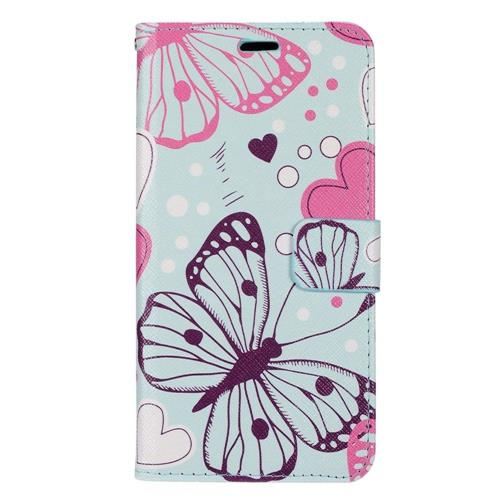 Insten Butterfly Flip Leather Case w/stand/card slot/Photo Display For Samsung Galaxy S8+, Blue/Pink