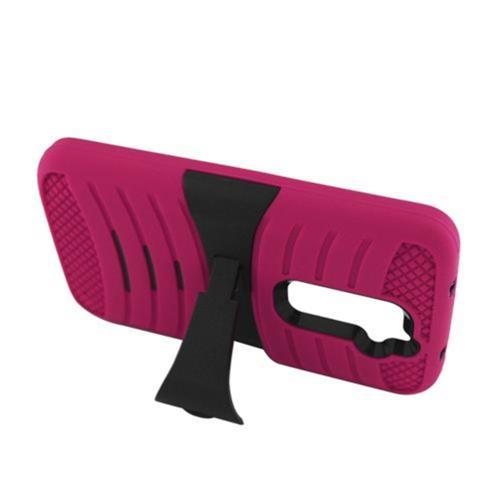 Insten Wave Rubber Hard Case w/stand For LG G2 D801 T-Mobile/G2 LS980 Sprint, Hot Pink/Black