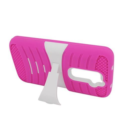 Insten Wave Rubber Hard Case w/stand For LG G2 D801 T-Mobile/G2 LS980 Sprint, Hot Pink/White