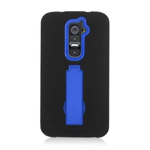 Insten Silicone Rubber Hard Case w/stand For LG G2 D801 T-Mobile/G2 LS980 Sprint, Black/Blue