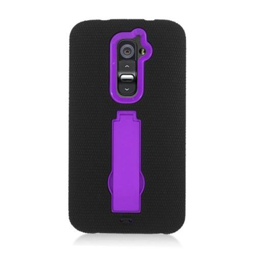Insten Symbiosis Gel Rubber Hard Case w/stand For LG G2 D801 T-Mobile/G2 LS980 Sprint, Black/Purple