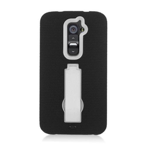 Insten Silicone Rubber Hard Case w/stand For LG G2 D801 T-Mobile/G2 LS980 Sprint, Black/White
