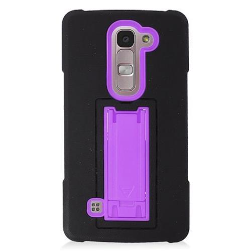 Insten Symbiosis Soft Rubber Hard Cover Case w/stand For LG Escape 2, Black/Purple
