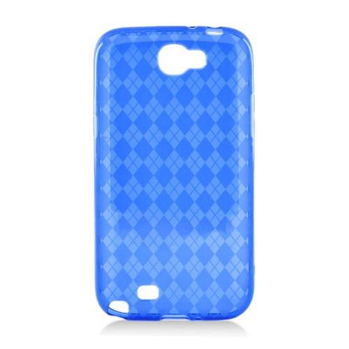 Insten Checker Rubber Clear Case For Samsung Galaxy Note II, Blue