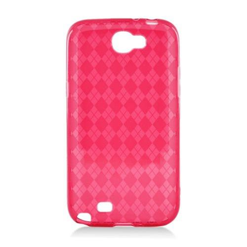 Insten Checker Gel Transparent Cover Case For Samsung Galaxy Note II, Red
