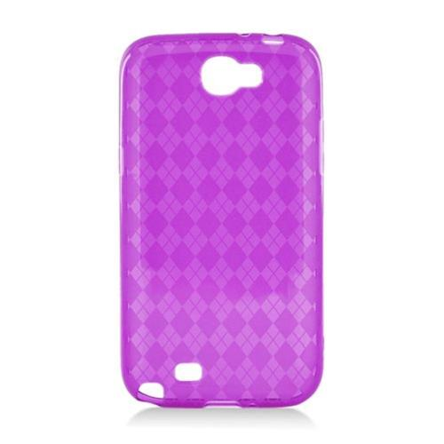 Insten Checker TPU Transparent Case For Samsung Galaxy Note II, Purple