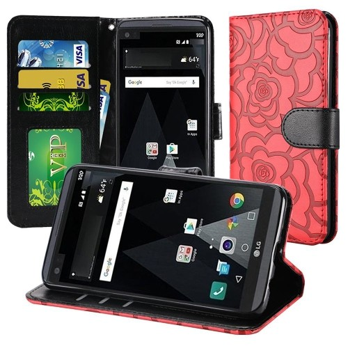 Insten Roses Leather Fabric Case Lanyard w/stand/card holder/Photo Display For LG Aristo/LV3, Red