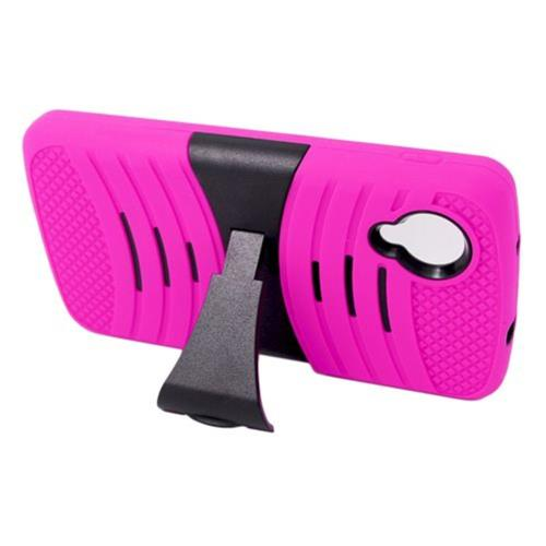 Insten Wave Symbiosis Skin Rubber Hard Case w/stand For LG Google Nexus 5 D820, Hot Pink/Black