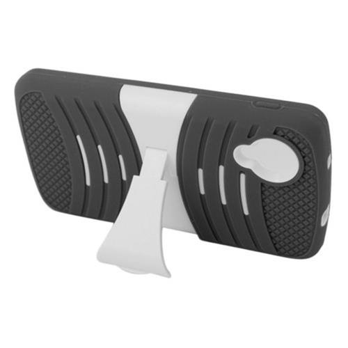Insten Wave Symbiosis Skin Rubber Hard Cover Case w/stand For LG Google Nexus 5 D820, Black/White
