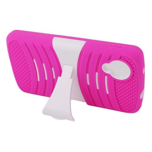 Insten Wave Symbiosis Gel Rubber Hard Cover Case w/stand For LG Google Nexus 5 D820, Hot Pink/White