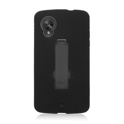 Insten Symbiosis Silicone Rubber Hard Case w/stand For LG Google Nexus 5 D820, Black
