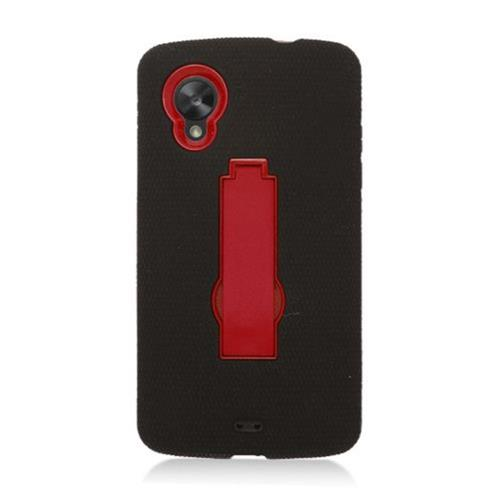 Insten Symbiosis Soft Rubber Hard Cover Case w/stand For LG Google Nexus 5 D820, Black/Red