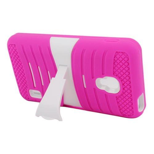Insten Wave Symbiosis Skin Rubber Hard Cover Case w/stand For LG Optimus F6 MS500, Hot Pink/White