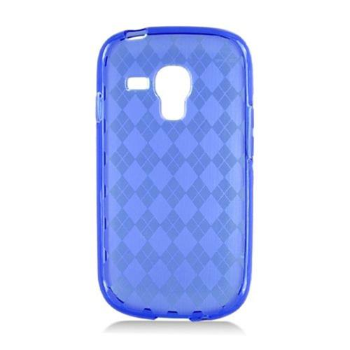 Insten Checker Rubber Transparent Cover Case For Samsung Galaxy S3 Mini, Blue