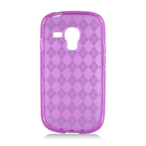 Insten Checker Rubber Clear Cover Case For Samsung Galaxy S3 Mini, Purple