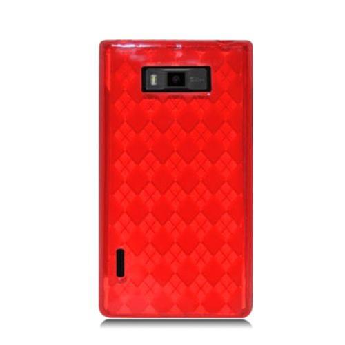 Insten Checker Gel Transparent Case For LG Splendor US730 / Venice LG730, Red